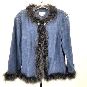 Ann Trinity Jean Jacket Cardigan Feather Lined
